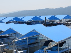 Blue boat awnings at Coeur d'Alene Resort, Idaho
