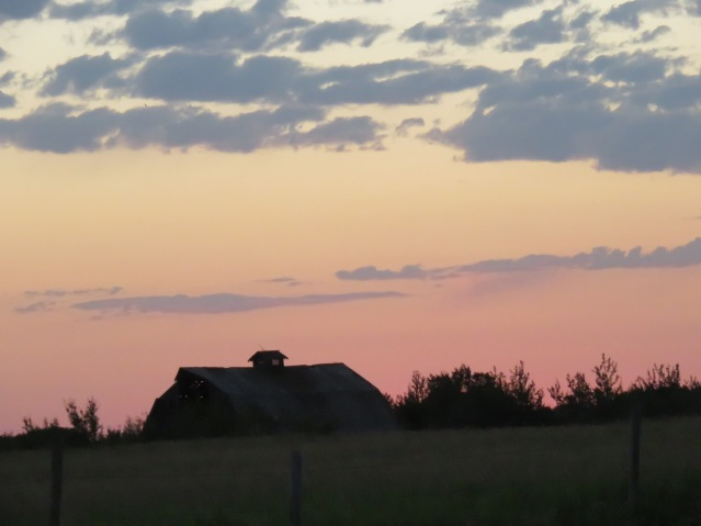 A barn roof at dawn